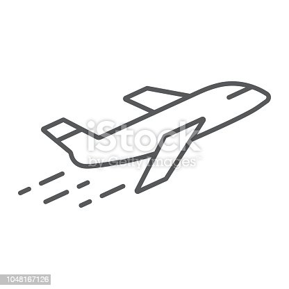 Airplane thin line icon, aircraft and travel, plane sign, vector graphics, a linear pattern on a white background, eps 10.