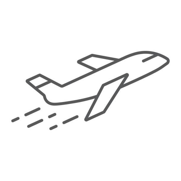 ilustraciones, imágenes clip art, dibujos animados e iconos de stock de icono de delgada línea avión, avión y viaje, signo del avión, gráficos vectoriales, un patrón linear sobre un fondo blanco. - avión