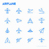 Airplane thin line icons set: agricultural aircraft, passenger's plane, military aviation, paper plane. Top, side, front views. Modern vector illustration.