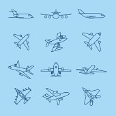 Airplane thin line icons