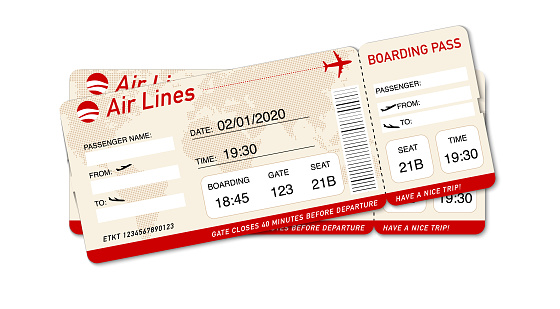 Airplane ticket. Boarding pass ticket template