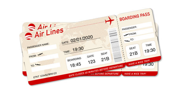 Airplane ticket. Boarding pass ticket template Flight tickets travel vacation boarding journey airplane ticket stock illustrations