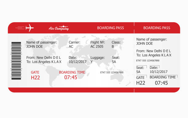 Airplane ticket. Boarding pass ticket template Airplane ticket. Boarding pass ticket template. Vector airplane ticket stock illustrations
