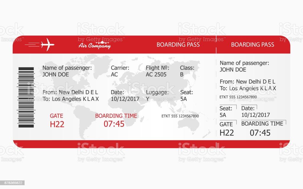Billet d'avion. Modèle de billet Boarding pass - Illustration vectorielle
