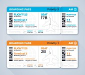 Airline or airplane boarding pass flying information concept. EPS 10 file. Transparency effects used on highlight elements.
