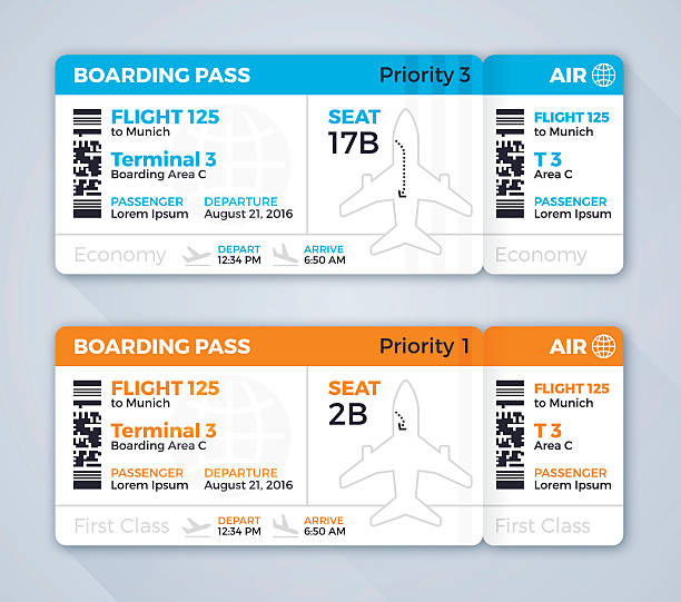 Airplane Ticket Boarding Pass Airline or airplane boarding pass flying information concept. EPS 10 file. Transparency effects used on highlight elements. airplane ticket stock illustrations