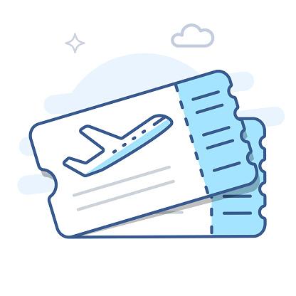 Airplane ticket line vector icon. Plane tickets line illustration.