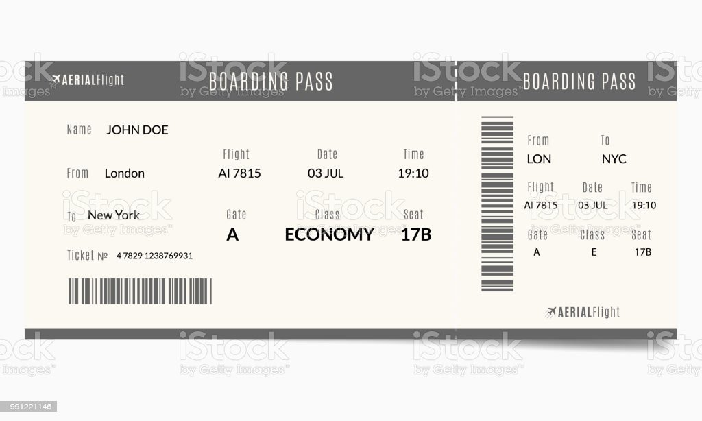 Plane Ticket Template   Airplane Ticket Template Stock Vector Art More Images Of Airplane