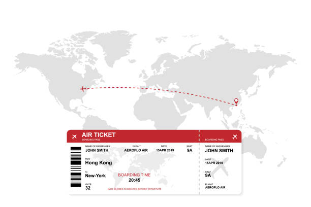 ilustraciones, imágenes clip art, dibujos animados e iconos de stock de billete de avión con fondo de mapa del mundo - regreso a clases