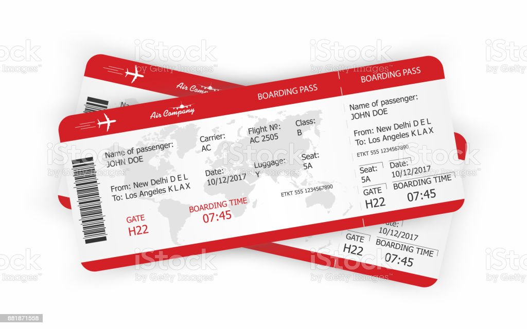 Airplane tickets. Boarding pass tickets template