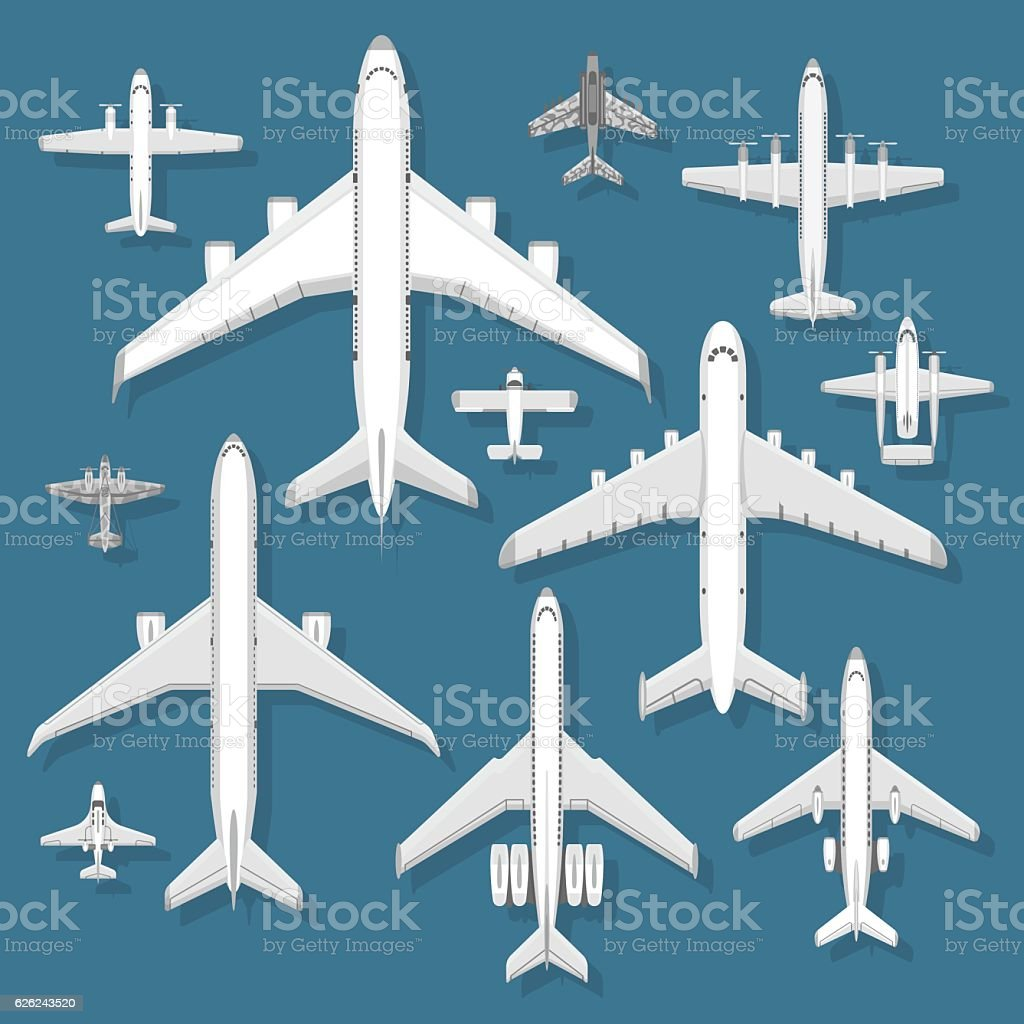 Airplane top view vector illustration. vector art illustration