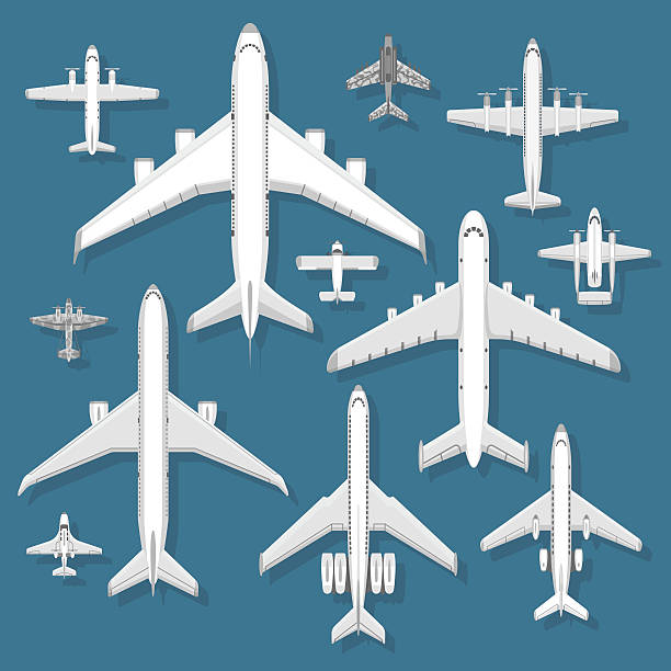 Airplane top view vector illustration. Vector holiday trip flying passenger airplane top view. Vector illustration airplane top view jet transportation. Commercial aviation journey airplane top view business tourism engine airliner design. private airplane stock illustrations