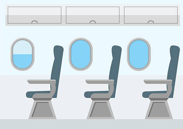 airplane transport interior. jet for travel. vector - airplane seat stock illustrations