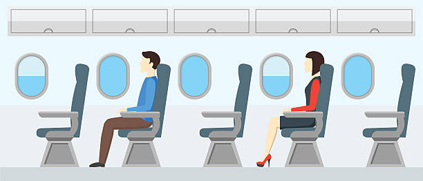 airplane transport interior retro. travel passengers in jet. vector - airplane seat stock illustrations
