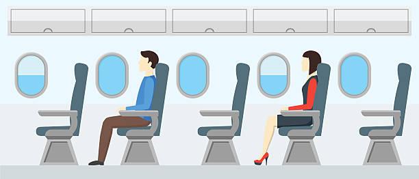 airplane transport interior retro. travel passengers in jet. vector - fahrzeugsitz stock-grafiken, -clipart, -cartoons und -symbole