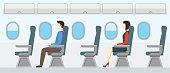 Airplane Transport Interior Retro. Travel Passengers in Jet. Vector