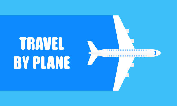 Airplane travel banner. Flying plane in the blue sky. Travel by plane poster or background. Vector illustration. Airplane travel banner. Flying plane in the blue sky. Travel by plane poster or background. Vector illustration. airport backgrounds stock illustrations