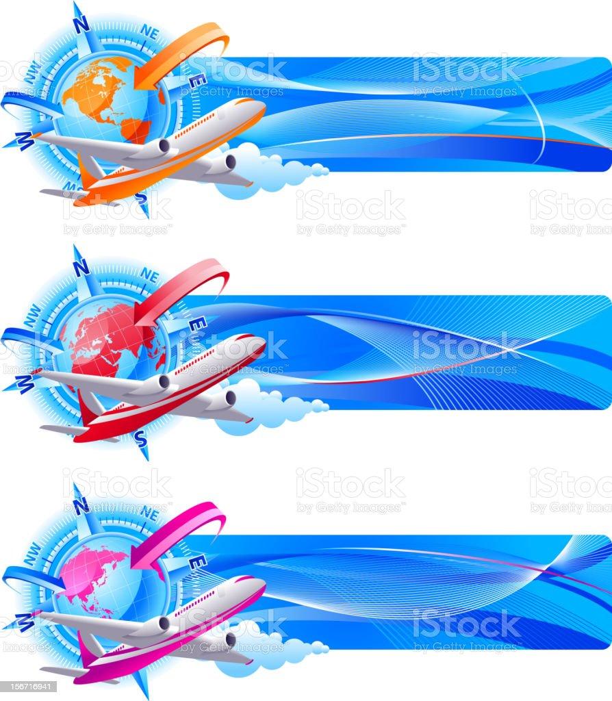 Airplane Travel banners vector art illustration