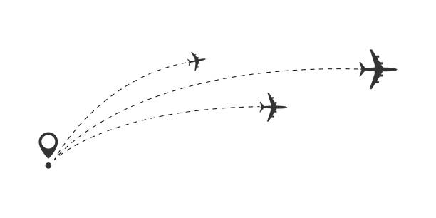 Airplane travel concept. Airplane travel concept. Plane with start point and route dash line. Flight vector illustration airport designs stock illustrations