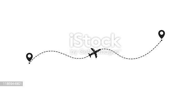 Airplane travel concept with map pins, GPS points. Flight start point concept or theme. Aircrafts and map pointer symbols vector illustration.