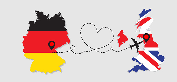 Airplane travel from France to Germany concept