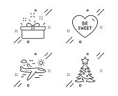 Airplane travel, Present box and Be sweet line icons set. Christmas tree sign. Trip flight, Sale offer, Love sweetheart. Spruce. Holidays set. Line airplane travel outline icon. Vector