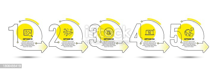 istock Airplane travel, Search photo and Not looking icons set. 5g notebook sign. Trip flight, Find image, Eye care. Vector 1306455419