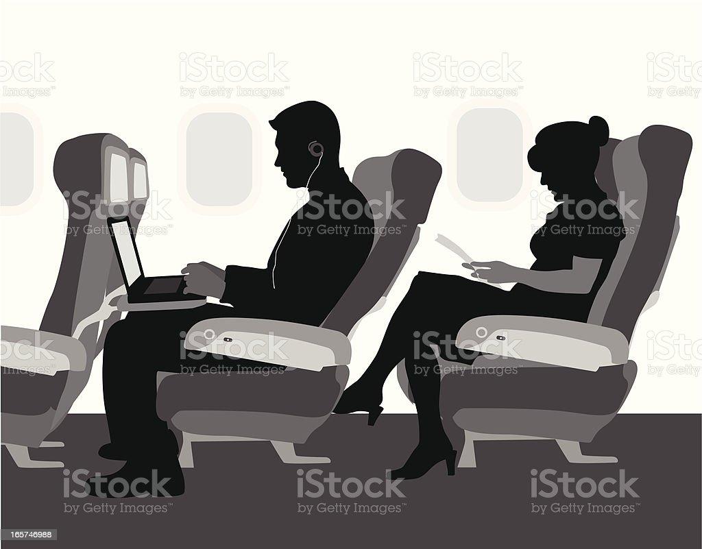 Airplane Travel Vector Silhouette vector art illustration