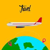 Airplane traveling around the glove. Vector illustration design