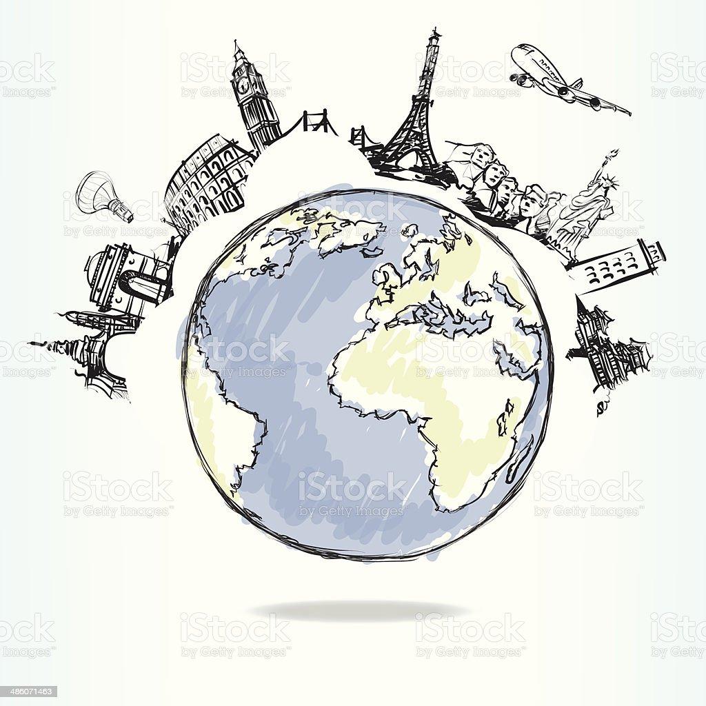 世界中の飛行機旅行 ベクターアートイラスト