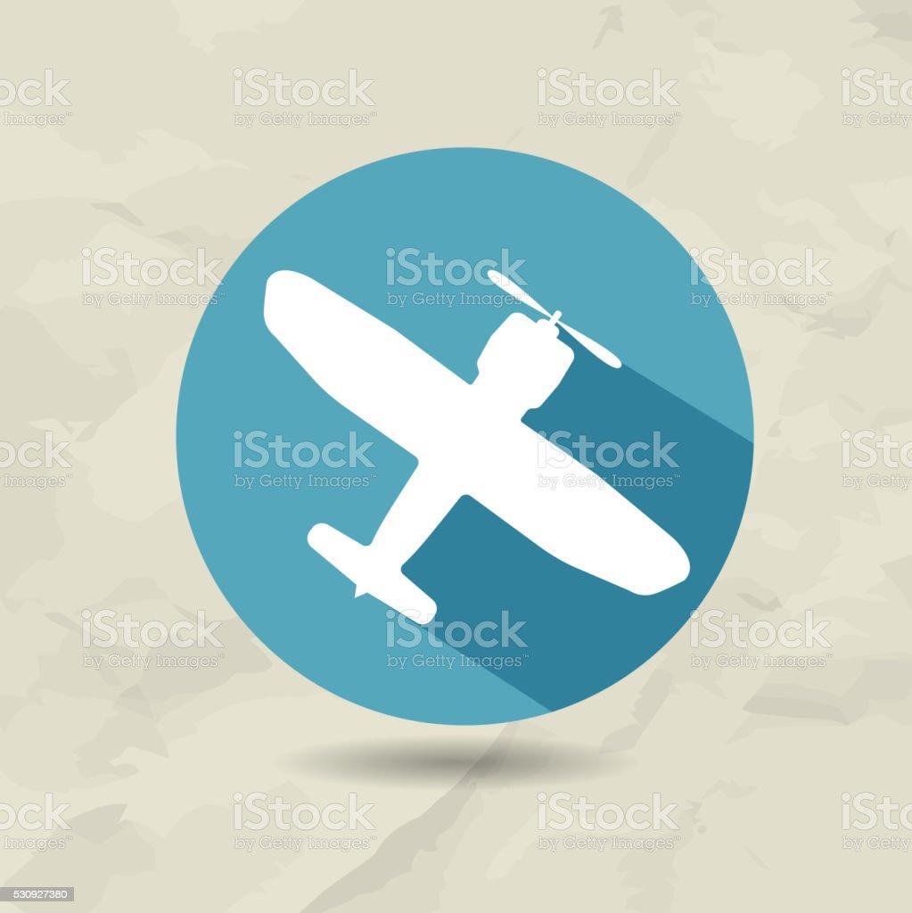 Avión moderno icono. Avión en un círculo azul. - ilustración de arte vectorial
