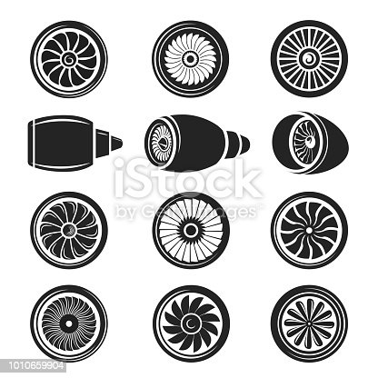 Airplane turbine icon set. Gas turbine powerful engine to produce forward technology motion, in black and white. Vector illustration