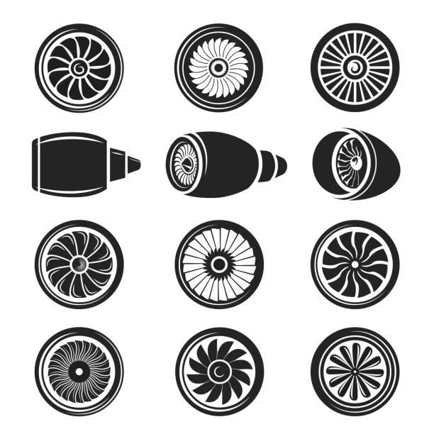 Airplane turbine icon set Airplane turbine icon set. Gas turbine powerful engine to produce forward technology motion, in black and white. Vector illustration private airplane stock illustrations