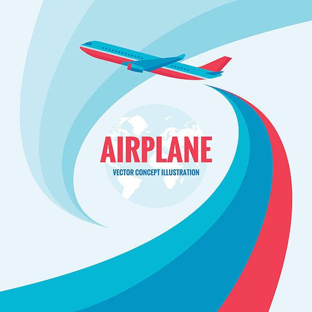 Airplane - vector concept illustration with abstract background Airplane - vector concept illustration with abstract background. Airplane silhouette illustration for transportation or travel company. Design elements. airport backgrounds stock illustrations