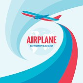 Airplane - vector concept illustration with abstract background