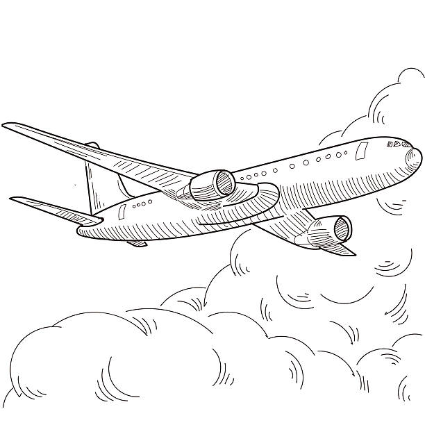 airplane Hand painted vector design elements, the file format for EPS10.0 fully editable. airport drawings stock illustrations