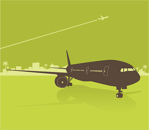 airplane Silhouette of an airplane on a green city airport background. The windows/doors, wheels, and the background are all layered. You can use them separately if desired. airport silhouettes stock illustrations