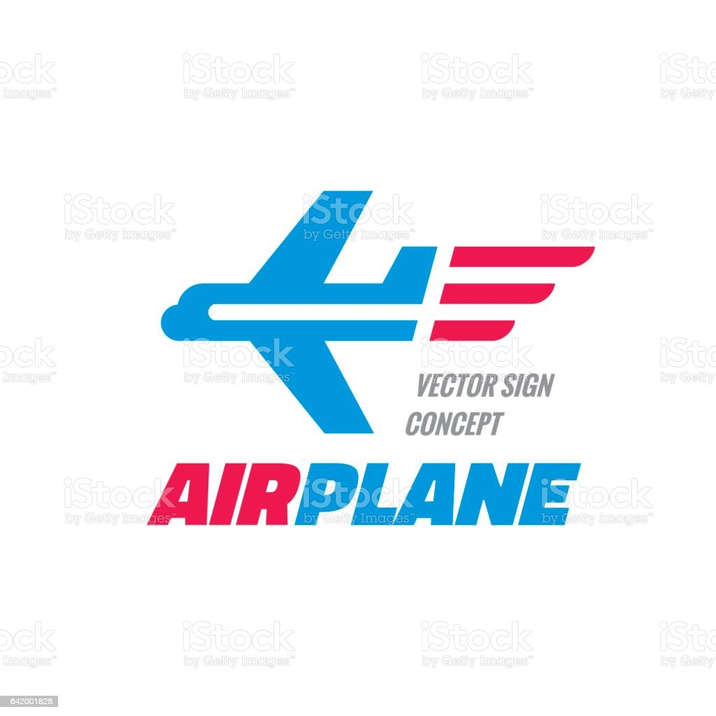 Airplane - vector logo template concept illustration. Abstract graphic sign. Design element. vector art illustration