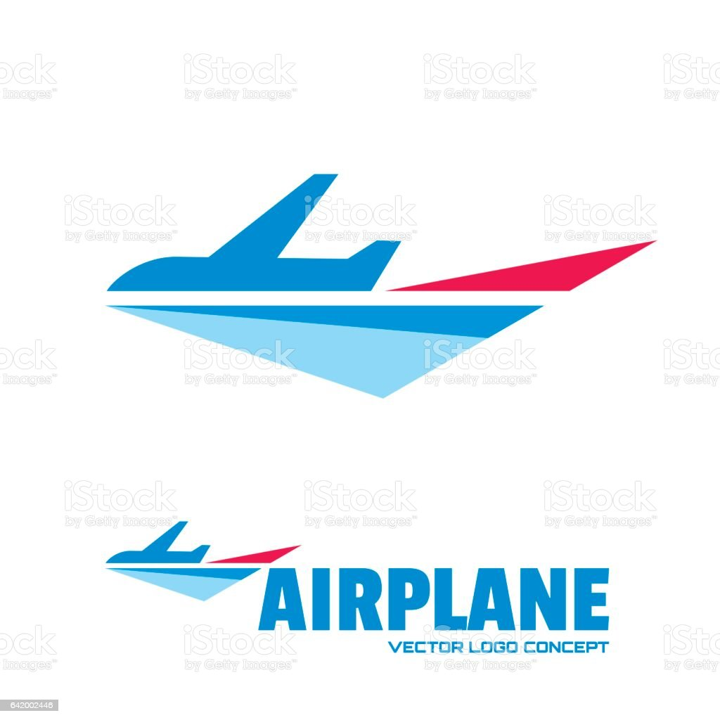 Airplane - vector logo template concept illustration. Minimal classic style. Aircraft silhouette sign for transportation company. Travel agency symbol. Design elements. vector art illustration