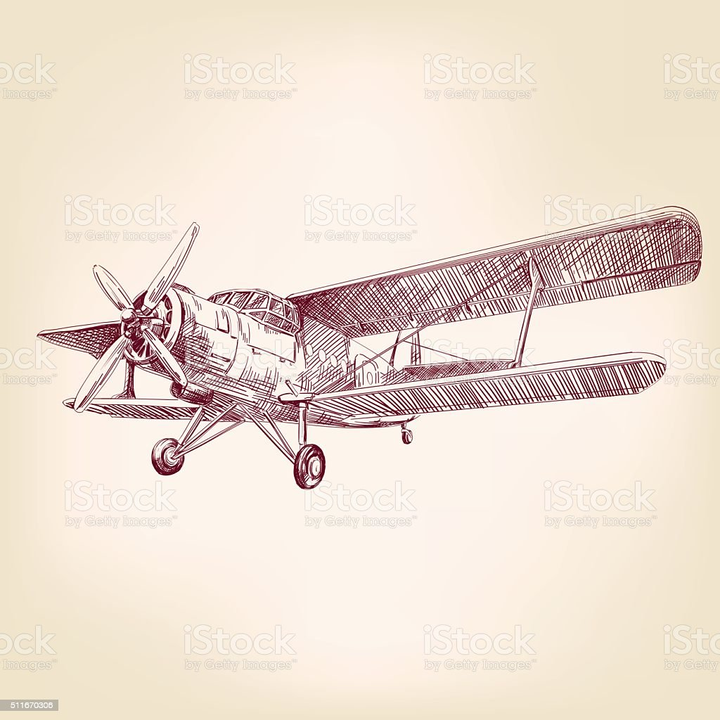 Airplane Vintage Hand Drawn Vector Llustration Sketch Stock Vector