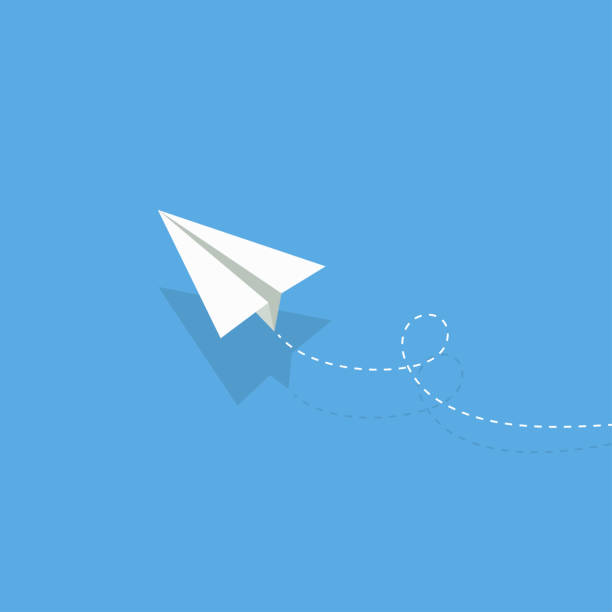 airplane. white paper airplane with shadow. airplane on a blue background airplane. white paper airplane with shadow. airplane on a blue background paper airplane stock illustrations