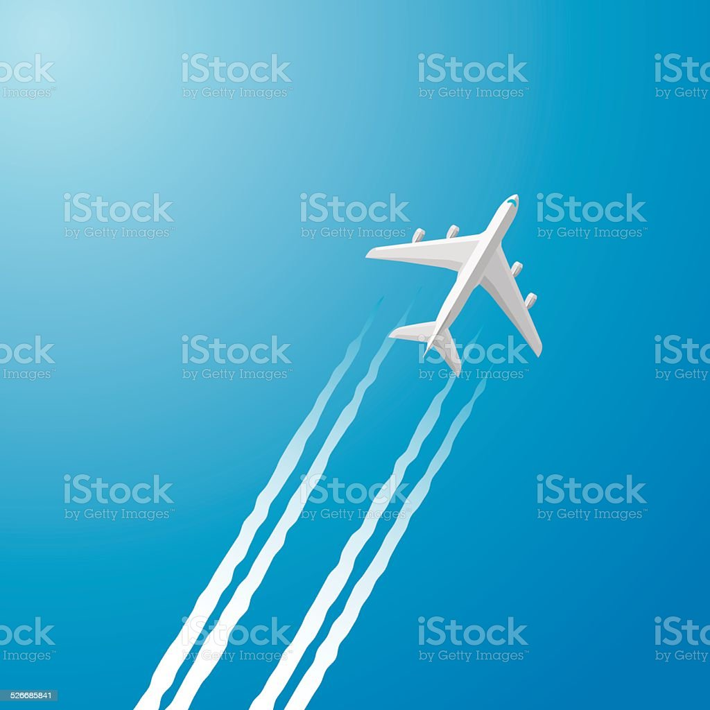 Airplane white trace vector art illustration
