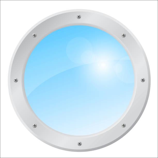 illustrazioni stock, clip art, cartoni animati e icone di tendenza di airplane window with a sunny sky. isolated vector illustration on white - flare