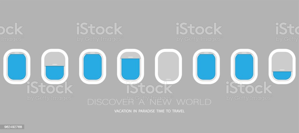 Airplane windows for your design. Flat web vector banner - Royalty-free Air Vehicle stock vector