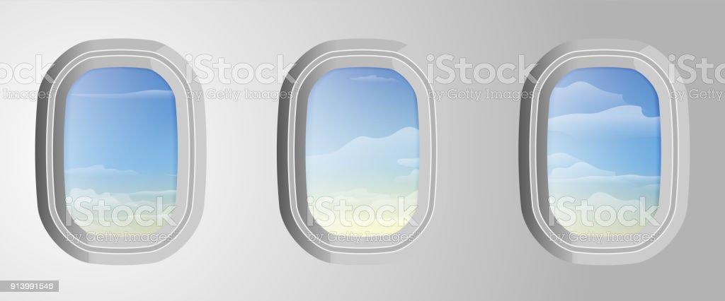 Flugzeug Fenster Mit Blauen Wolkenhimmel Außerhalb Blick Vom