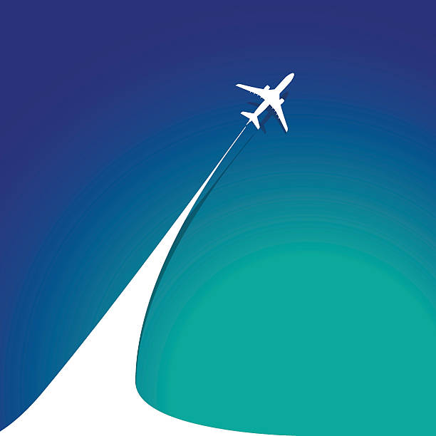 Airplane with airplane stream jet Airplane with airplane stream jet. Illustration for logo, poster, print and web projects travel agencies, aviation companies. aviation and environment summit stock illustrations