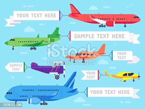 Airplane with banner. Flying ad aeroplane, aviation aircraft banners and airline plane ads or sky plane aerial banner. Flying advertising biplane ribbon flat vector illustration