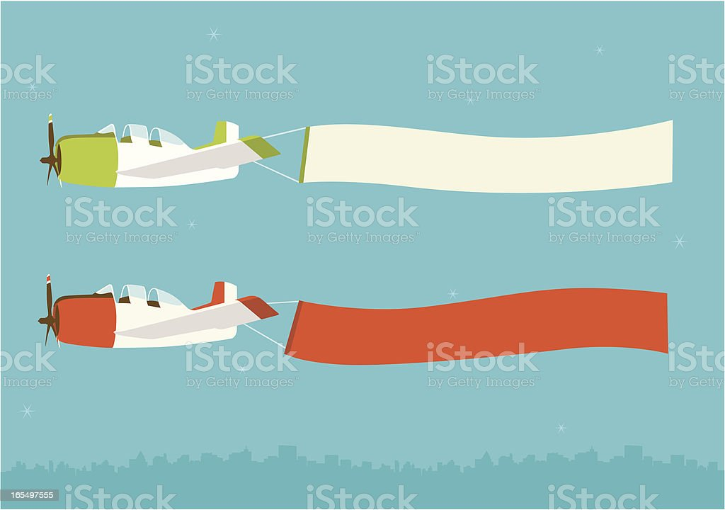 airplane with banner royalty-free stock vector art