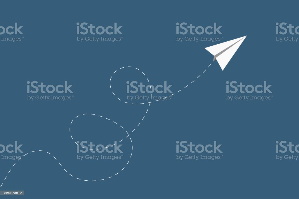 Airplane with flying direction. Minimalist style wallpaper for busines presentation. Vector vector art illustration