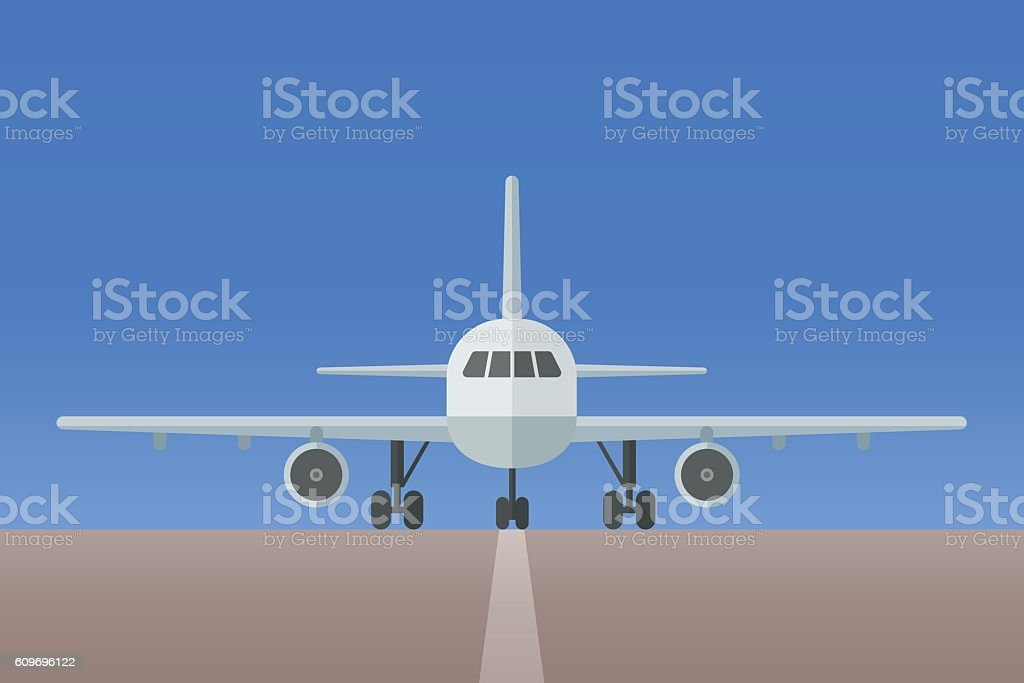 Airplane with landing gear on runway vector art illustration